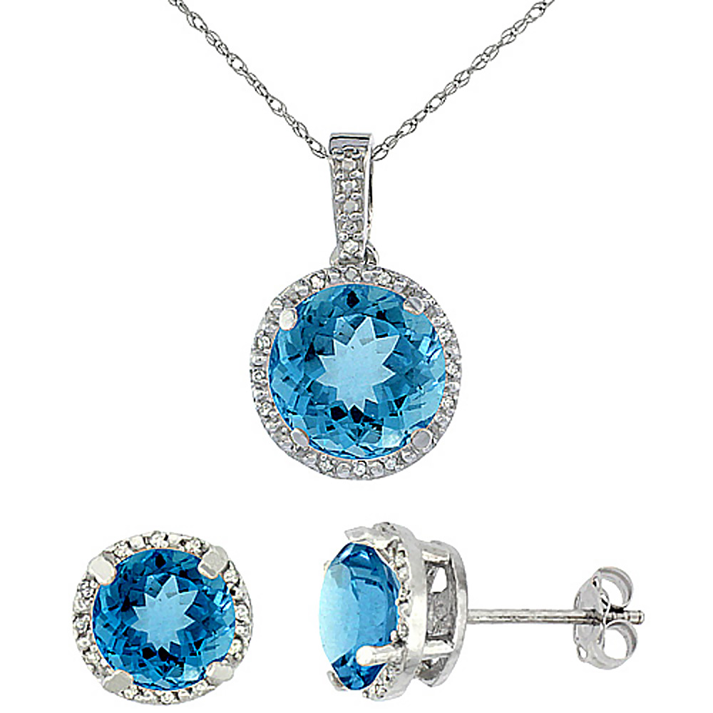 10K White Gold Natural Round Swiss Blue Topaz Earrings & Pendant Set Diamond Accents