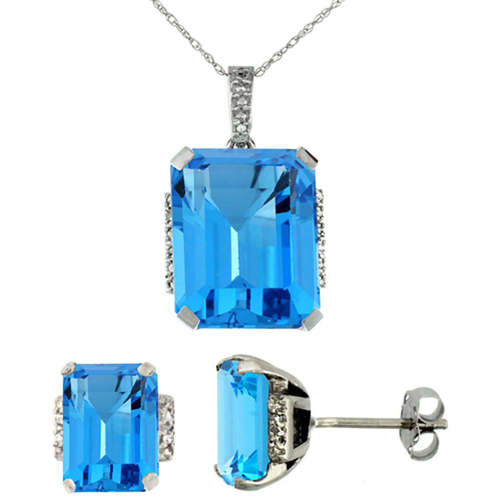 10K White Gold Natural Octagon Swiss Blue Topaz Earrings & Pendant Set Diamond Accents