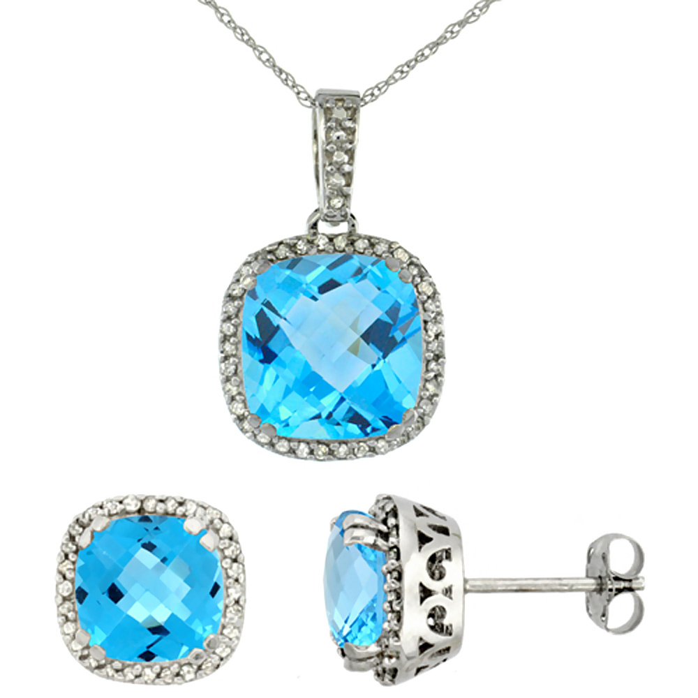 10K White Gold Natural Cushion Swiss Blue Topaz Earrings & Pendant Set Diamond Accents