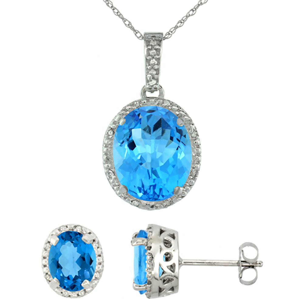 10K White Gold Diamond Halo Natural Swiss Blue Topaz Earrings Necklace Set Oval 7x5mm & 12x10mm, 18 inch