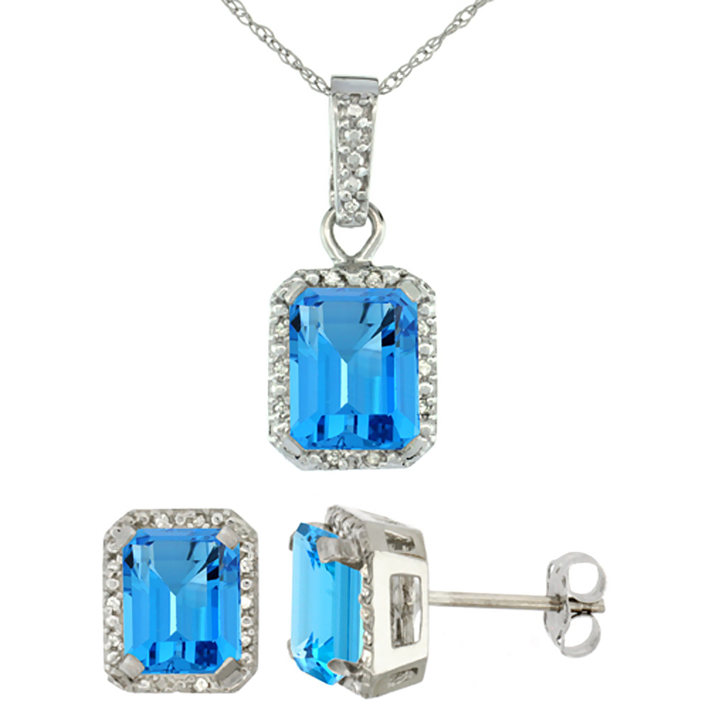 10K White Gold Natural Octagon 8x6 mm Swiss Blue Topaz Earrings & Pendant Set Diamond Accents