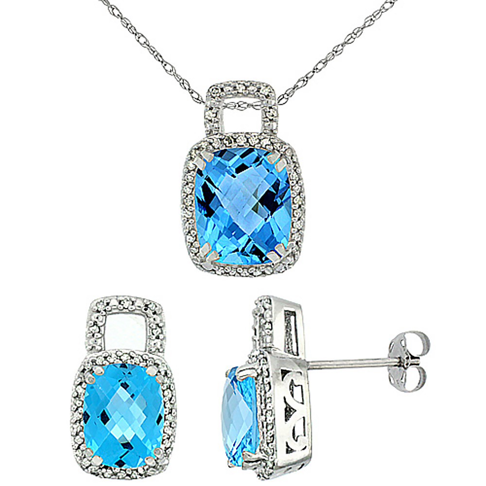 10K White Gold Natural Octagon Cushion Swiss Blue Topaz Earrings & Pendant Set Diamond Accents