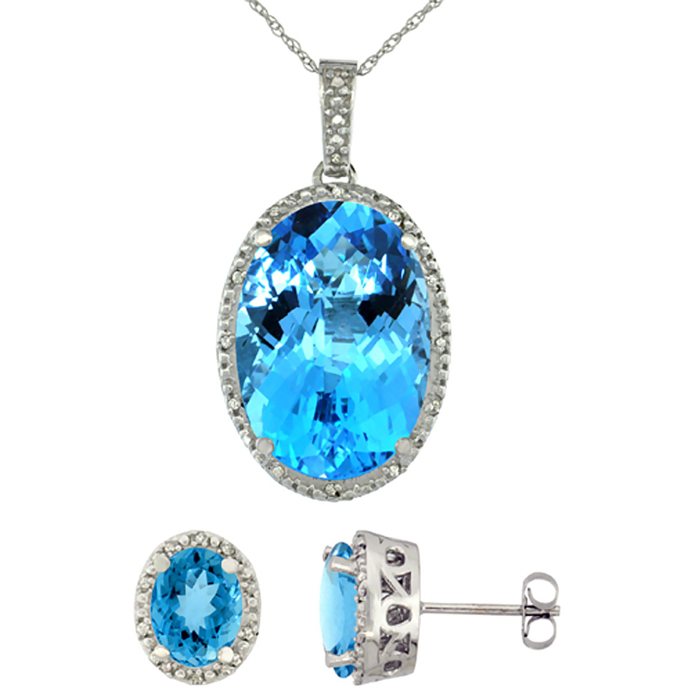 10K White Gold Diamond Natural Oval Swiss Blue Topaz Earrings & Pendant Set