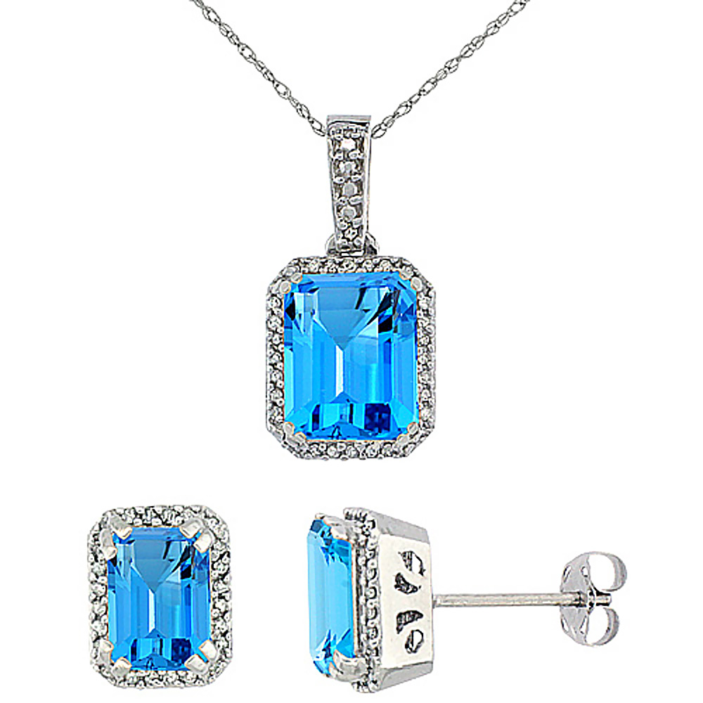 10K White Gold Diamond Natural Octagon Swiss Blue Topaz Earrings & Pendant Set