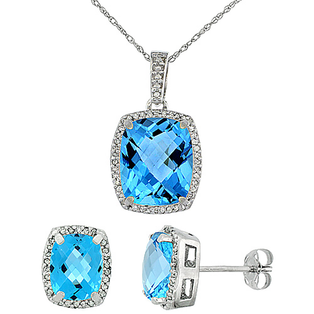 10K White Gold Natural Swiss Blue Topaz Octagon Cushion Earrings & Pendant Set