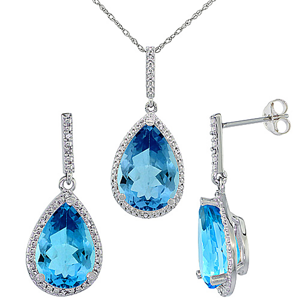 10K White Gold Diamond Natural Swiss Blue Topaz Earrings Necklace Set Pear Shaped 12x8mm&15x10mm,18 inch