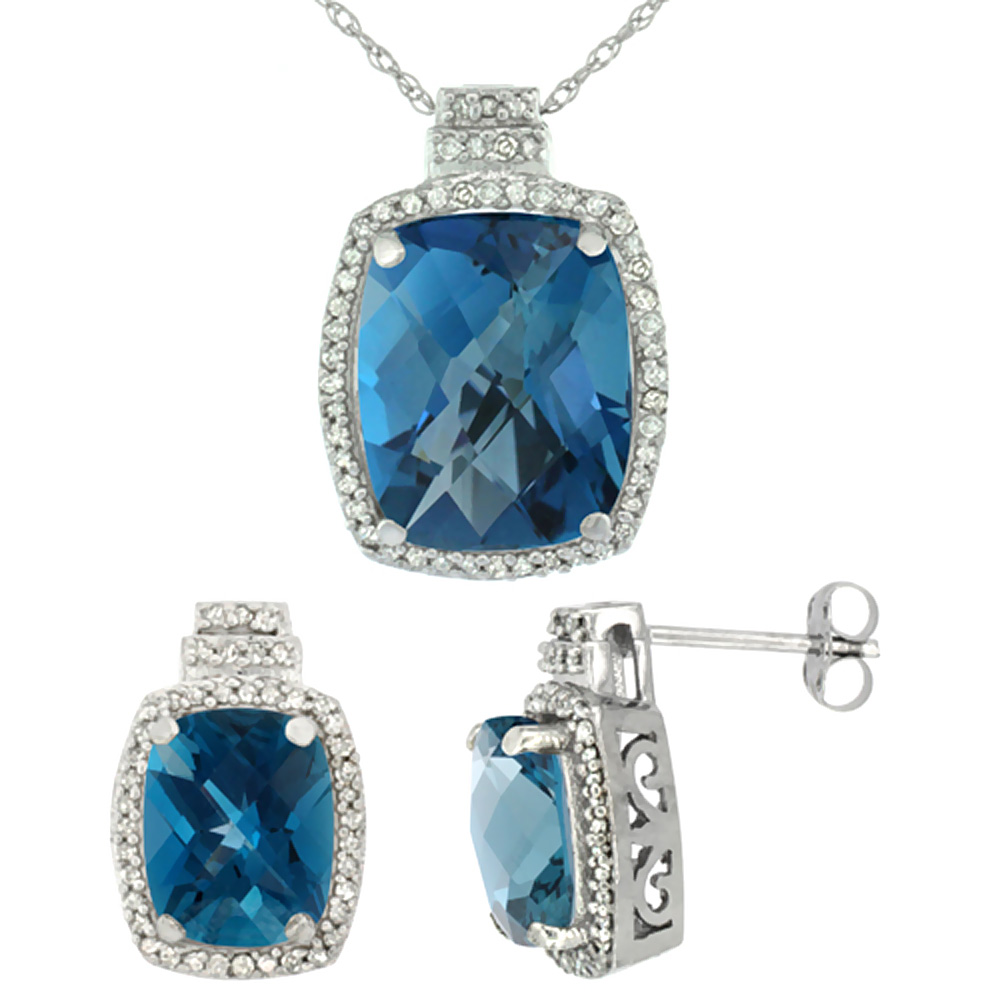 10K White Gold Diamond Natural London Blue Topaz 8x6mm Earring & 11x9mm Pendant Set Octagon Cushion