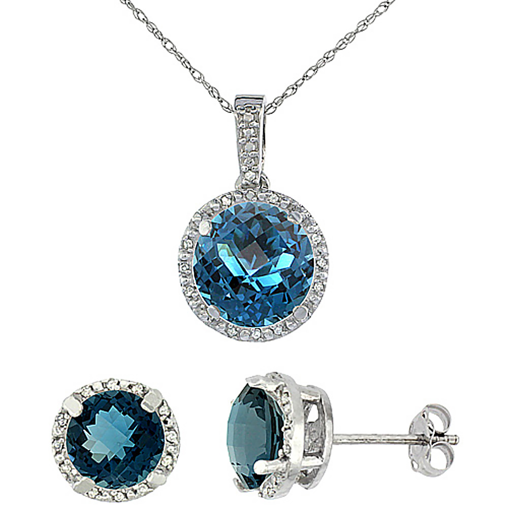 10K White Gold Natural Round London Blue Topaz Earrings & Pendant Set Diamond Accents