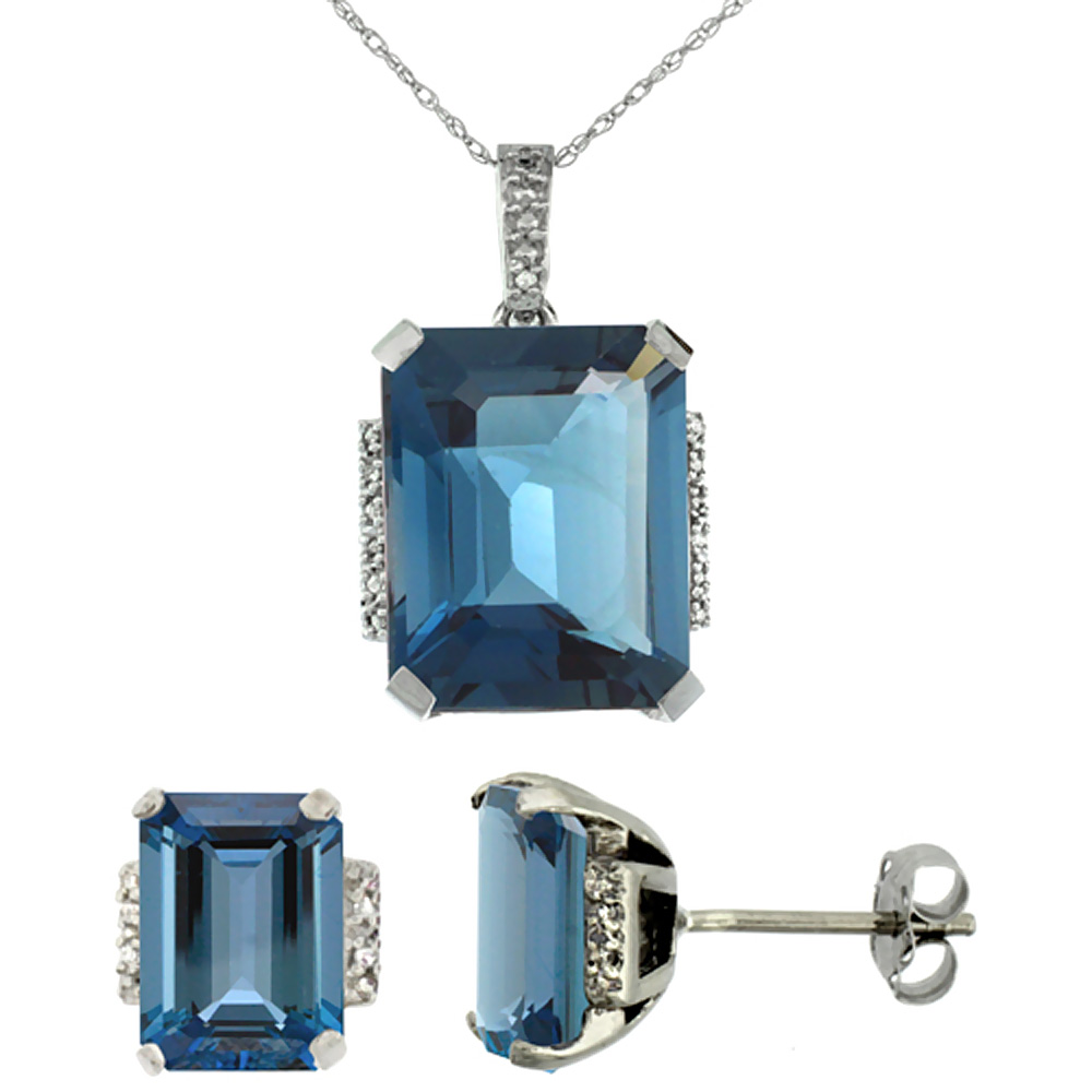 10K White Gold Natural Octagon London Blue Topaz Earrings & Pendant Set Diamond Accents