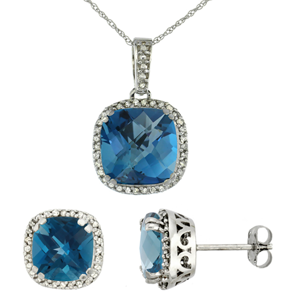 10k White Gold Diamond Halo Natural London Blue Topaz Earring Necklace Set 7x7mm&10x10mm Cushion,18 inch