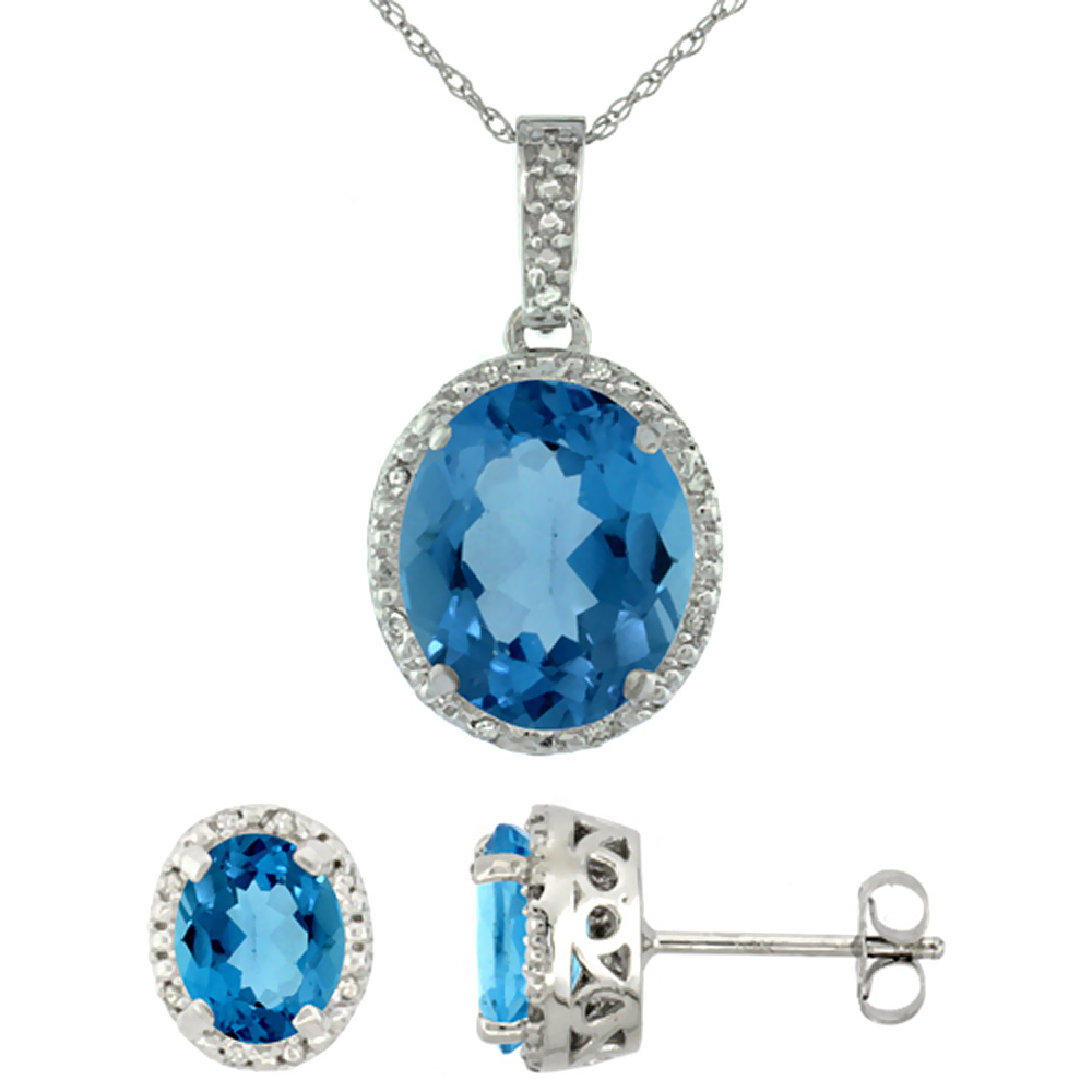10K White Gold Diamond Halo Natural London Blue Topaz Earrings Necklace Set Oval 7x5mm & 12x10mm, 18 inch