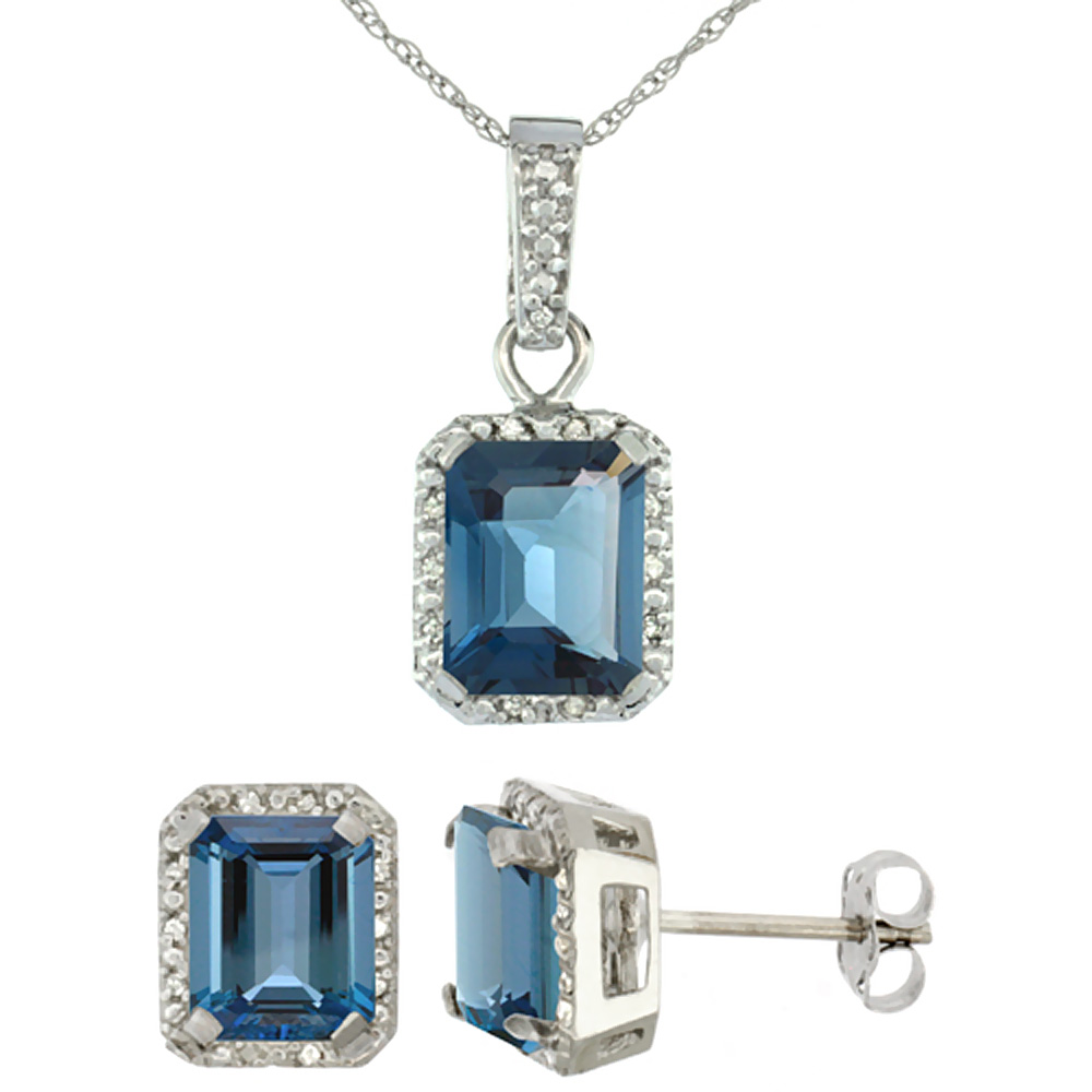 10K White Gold Natural Octagon 8x6 mm London Blue Topaz Earrings & Pendant Set Diamond Accents