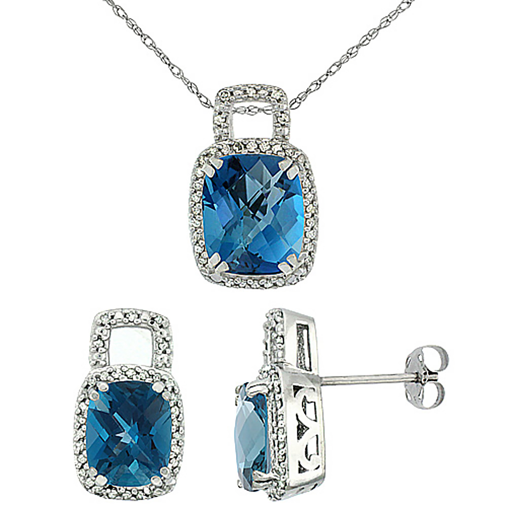 10K White Gold Natural Octagon Cushion London Blue Topaz Earrings & Pendant Set Diamond Accents