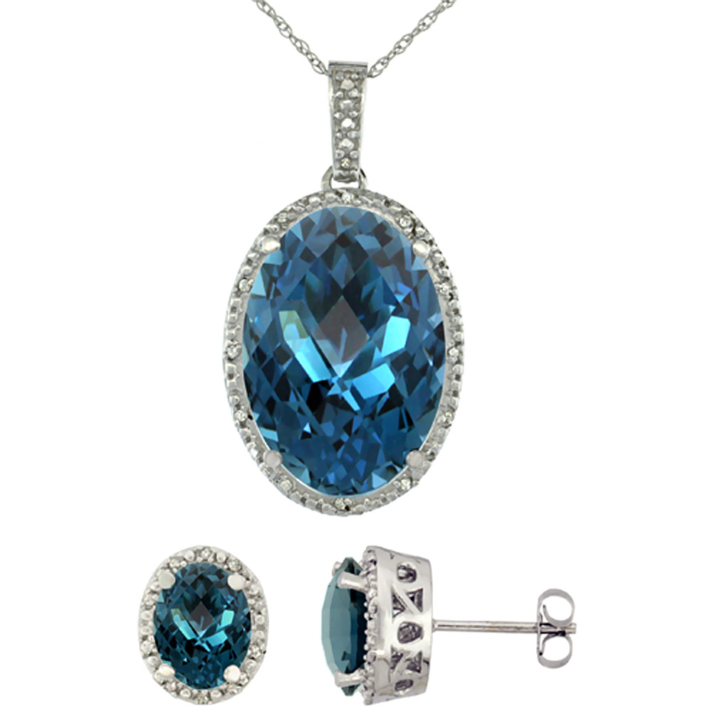 10K White Gold Diamond Natural Oval London Blue Topaz Earrings & Pendant Set