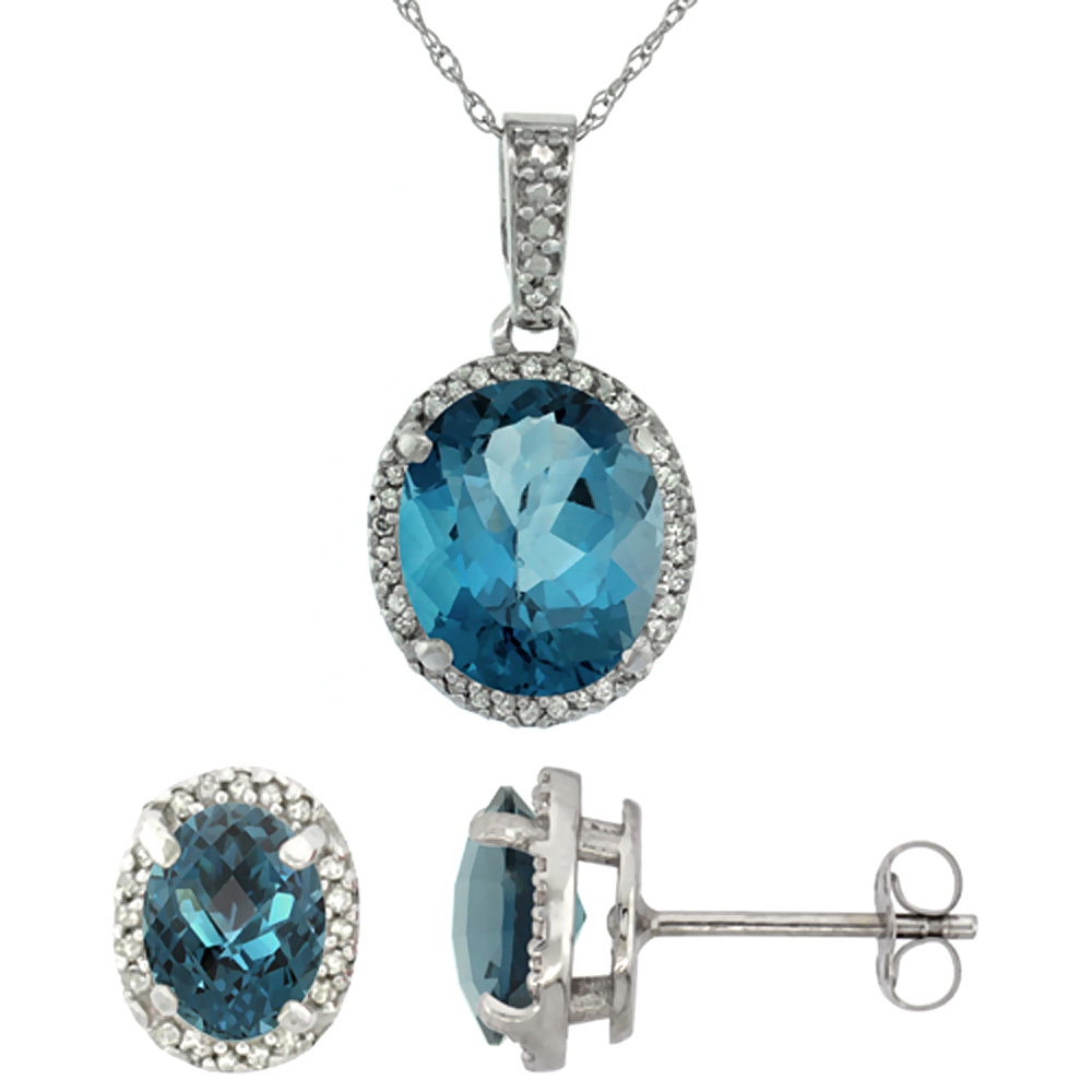 10K White Gold Diamond Natural London Blue Topaz Oval Earrings & Pendant Set