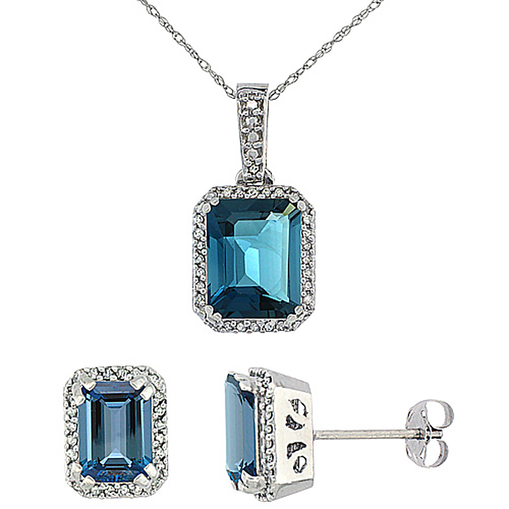 10K White Gold Diamond Natural Octagon London Blue Topaz Earrings & Pendant Set