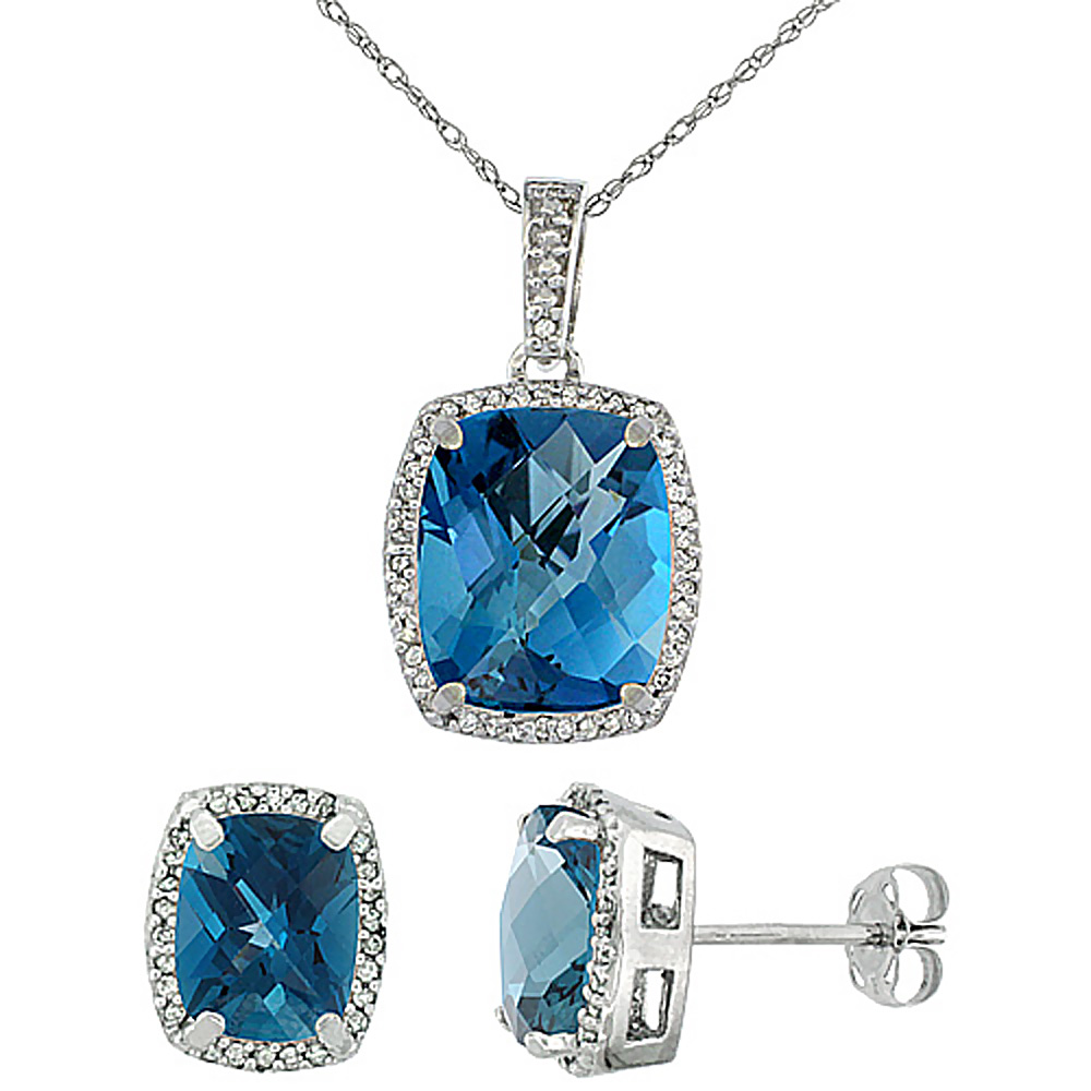 10K White Gold Natural London Blue Topaz Octagon Cushion Earrings & Pendant Set