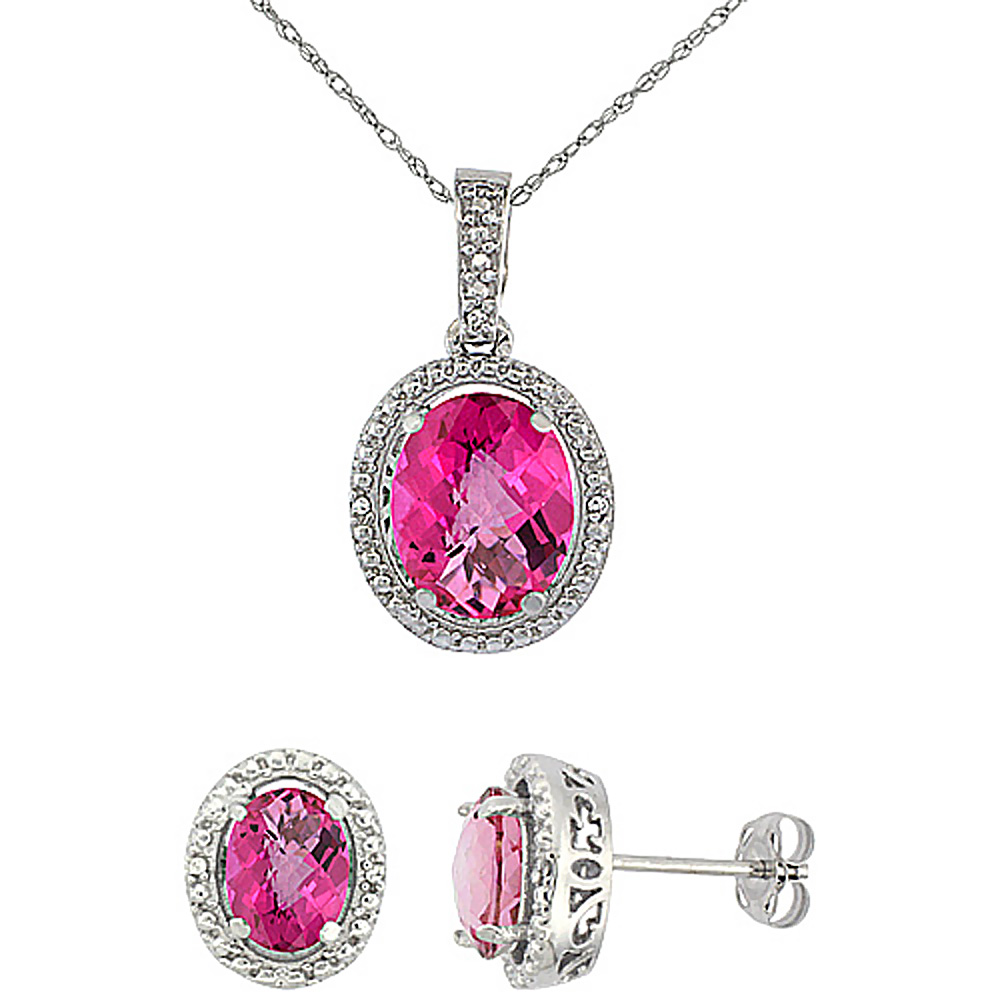 10K White Gold Diamond Natural Pink Topaz Oval Earrings & Pendant Set