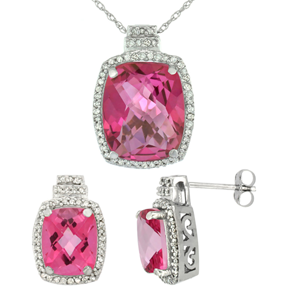 10K White Gold Diamond Natural Pink Topaz 8x6mm Earrings & 11x9mm Pendant Set Octagon Cushion