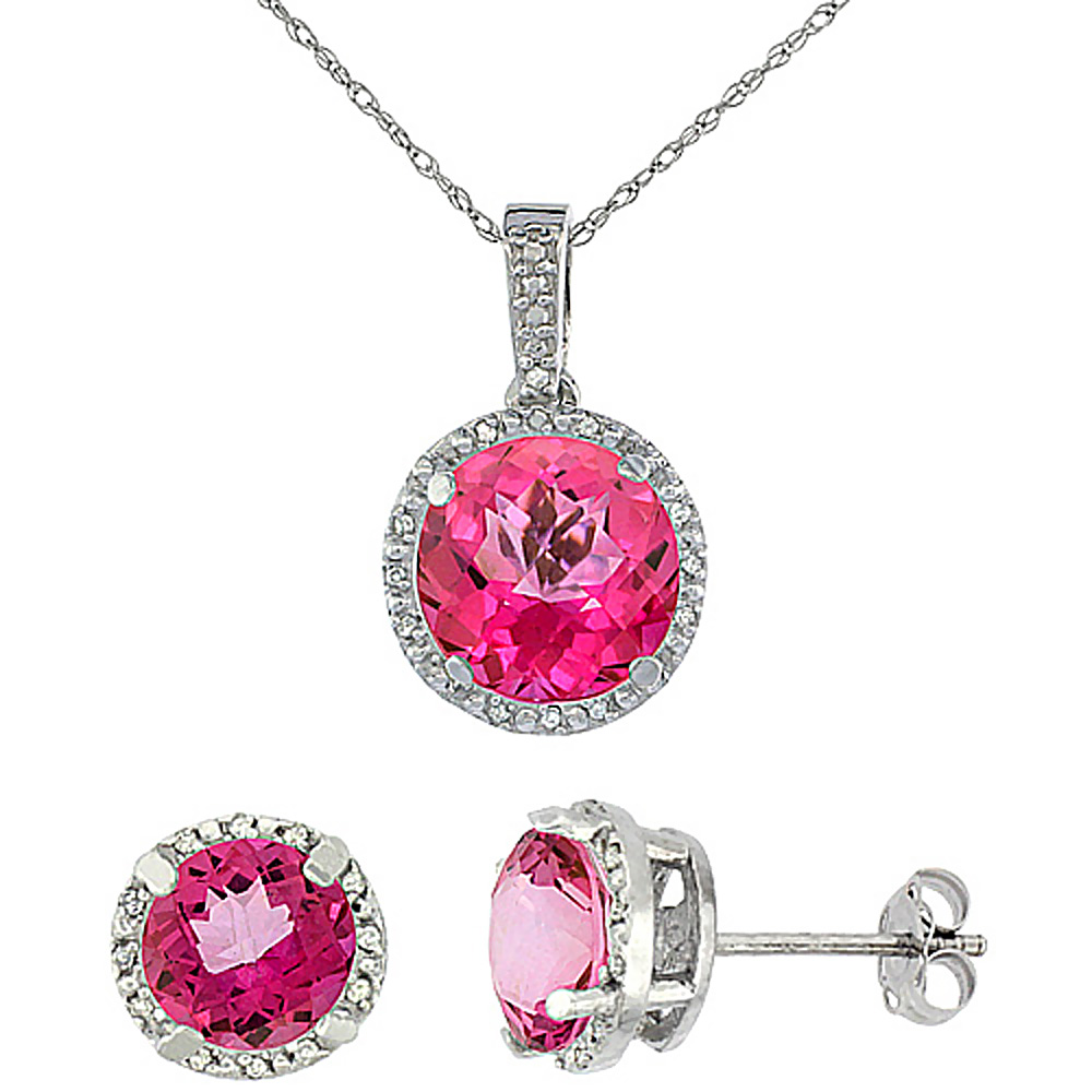 10K White Gold Natural Round Pink Topaz Earrings & Pendant Set Diamond Accents