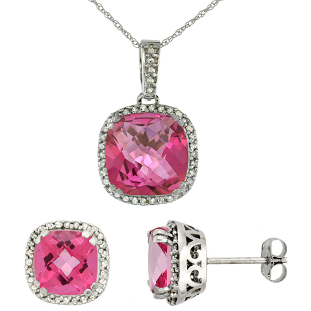 10k White Gold Diamond Halo Natural Pink Topaz Earring Necklace Set 7x7mm & 10x10mm Cushion, 18 inch
