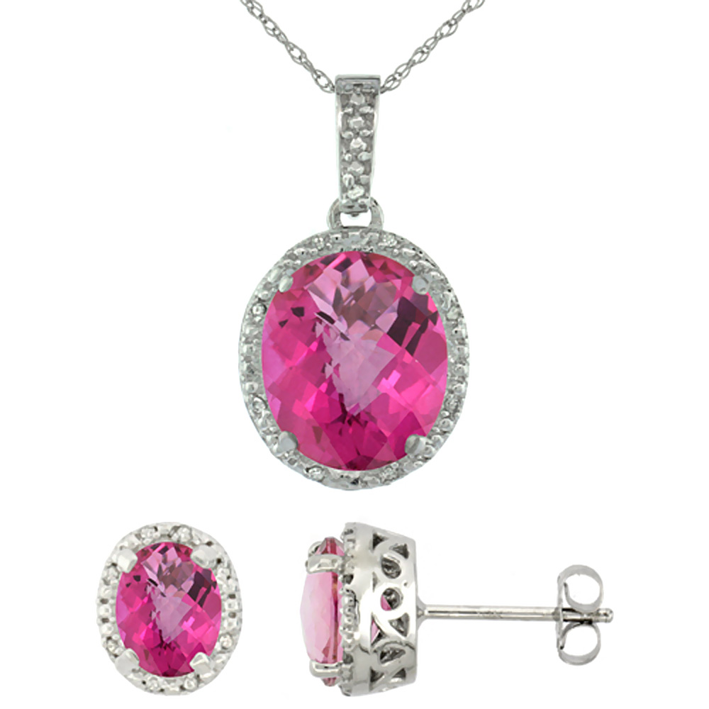10K White Gold Diamond Halo Natural Pink Topaz Earrings Necklace Set Oval 7x5mm & 12x10mm, 18 inch