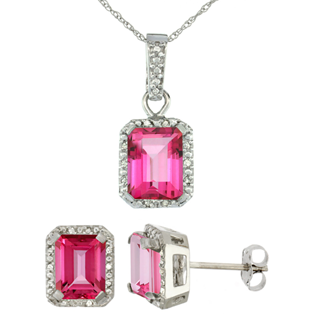 10K White Gold Natural Octagon 8x6 mm Pink Topaz Earrings & Pendant Set Diamond Accents