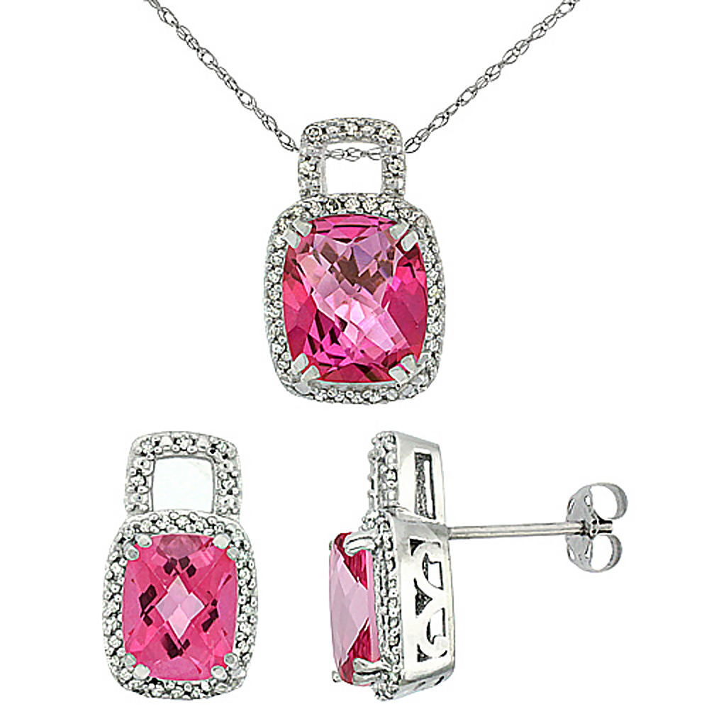 10K White Gold Natural Octagon Cushion Pink Topaz Earrings & Pendant Set Diamond Accents
