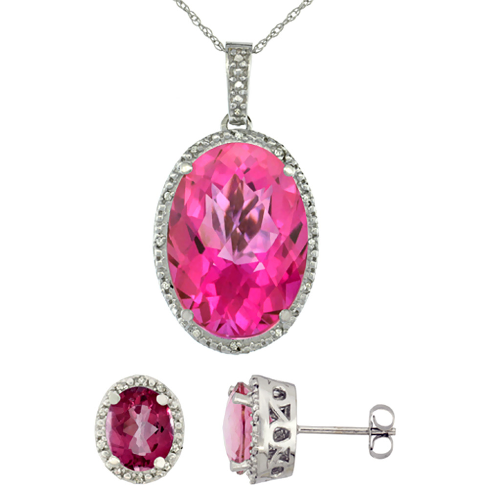 10K White Gold Diamond Natural Oval Pink Topaz Earrings & Pendant Set