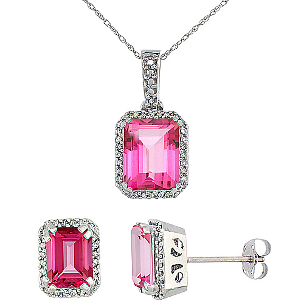 10K White Gold Diamond Natural Octagon Pink Topaz Earrings & Pendant Set