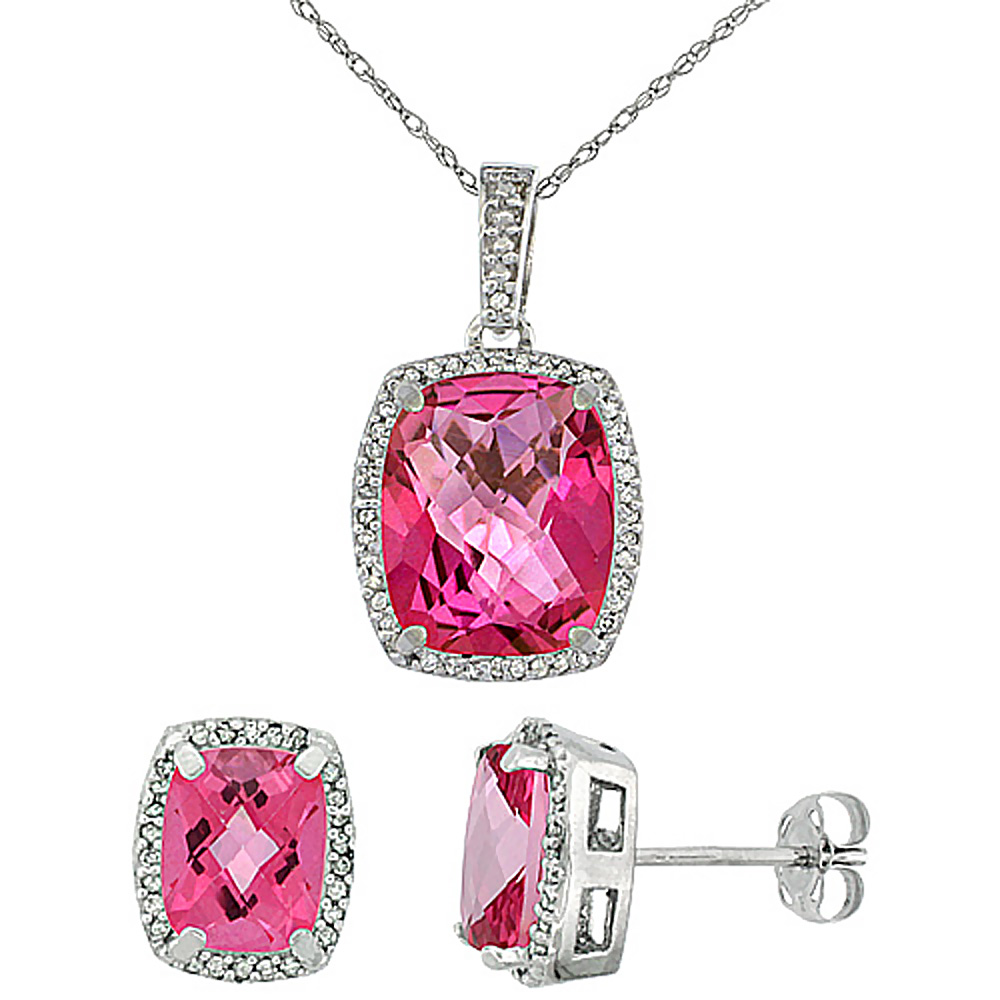 10K White Gold Natural Pink Topaz Octagon Cushion Earrings & Pendant Set