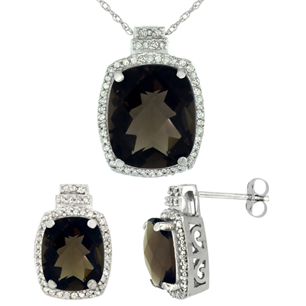 10K White Gold Diamond Natural Smoky Topaz 8x6mm Earrings & 11x9mm Pendant Set Octagon Cushion