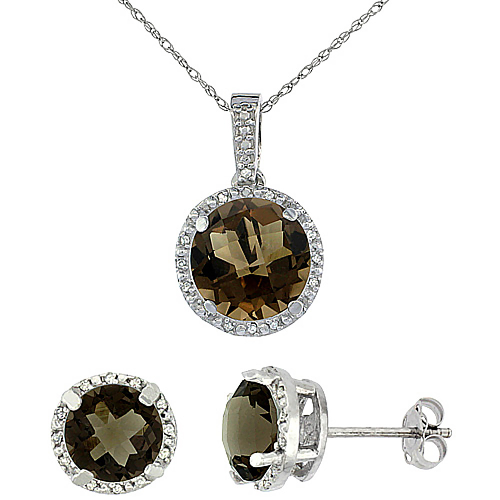 10K White Gold Natural Round Smoky Topaz Earrings & Pendant Set Diamond Accents