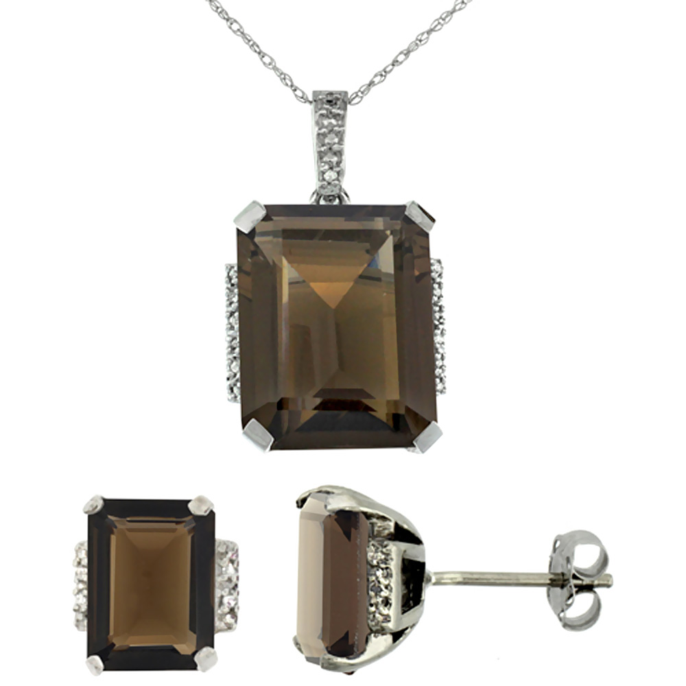 10K White Gold Natural Octagon Smoky Topaz Earrings & Pendant Set Diamond Accents