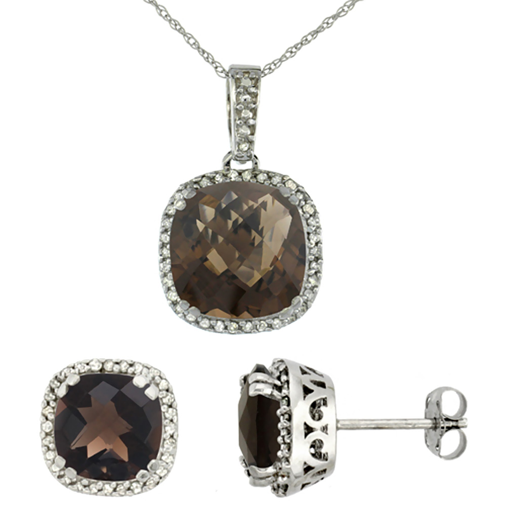 10k White Gold Diamond Halo Natural Smoky Topaz Earring Necklace Set 7x7mm & 10x10mm Cushion, 18 inch