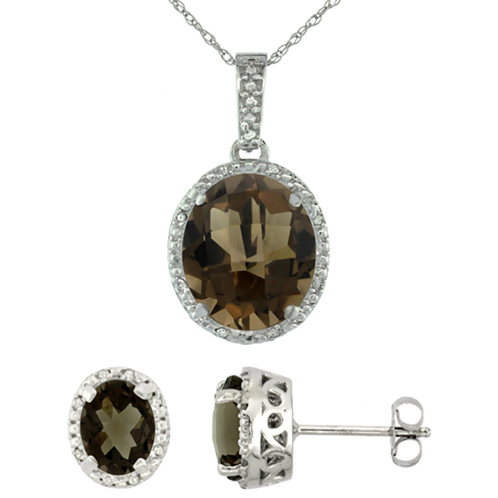 10K White Gold Diamond Halo Natural Smoky Topaz Earrings Necklace Set Oval 7x5mm & 12x10mm, 18 inch
