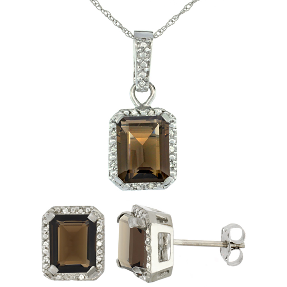 10K White Gold Natural Octagon 8x6 mm Smoky Topaz Earrings & Pendant Set Diamond Accents