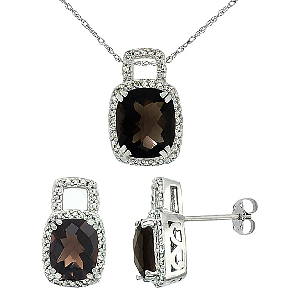 10K White Gold Natural Octagon Cushion Smoky Topaz Earrings & Pendant Set Diamond Accents