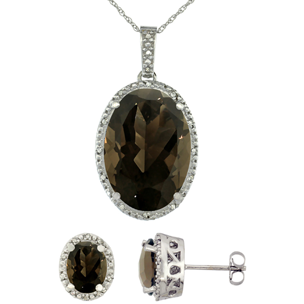 10K White Gold Diamond Natural Oval Smoky Topaz Earrings & Pendant Set