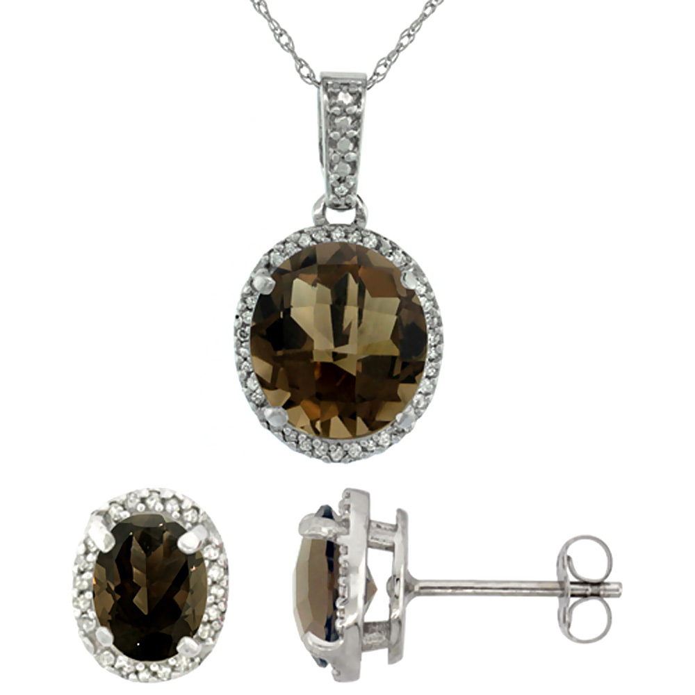 10K White Gold Diamond Natural Smoky Topaz Oval Earrings & Pendant Set