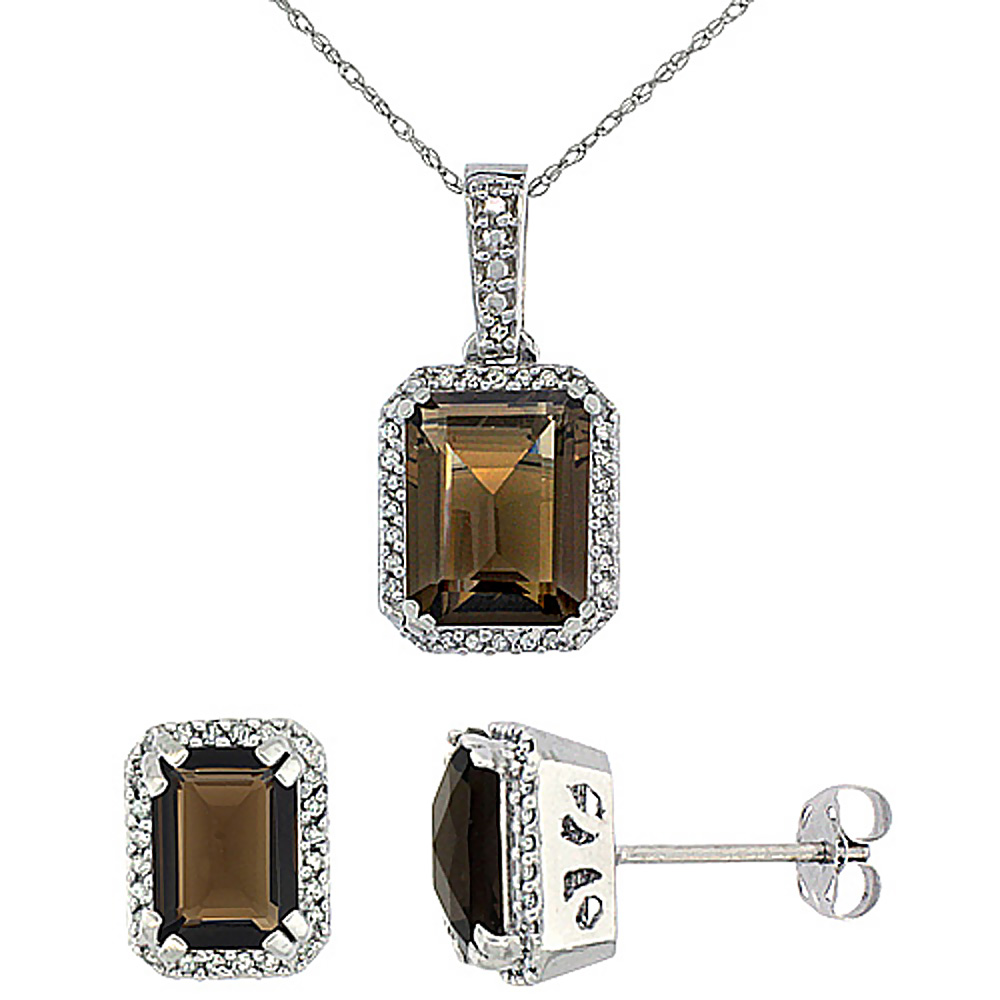 10K White Gold Diamond Natural Octagon Smoky Topaz Earrings & Pendant Set