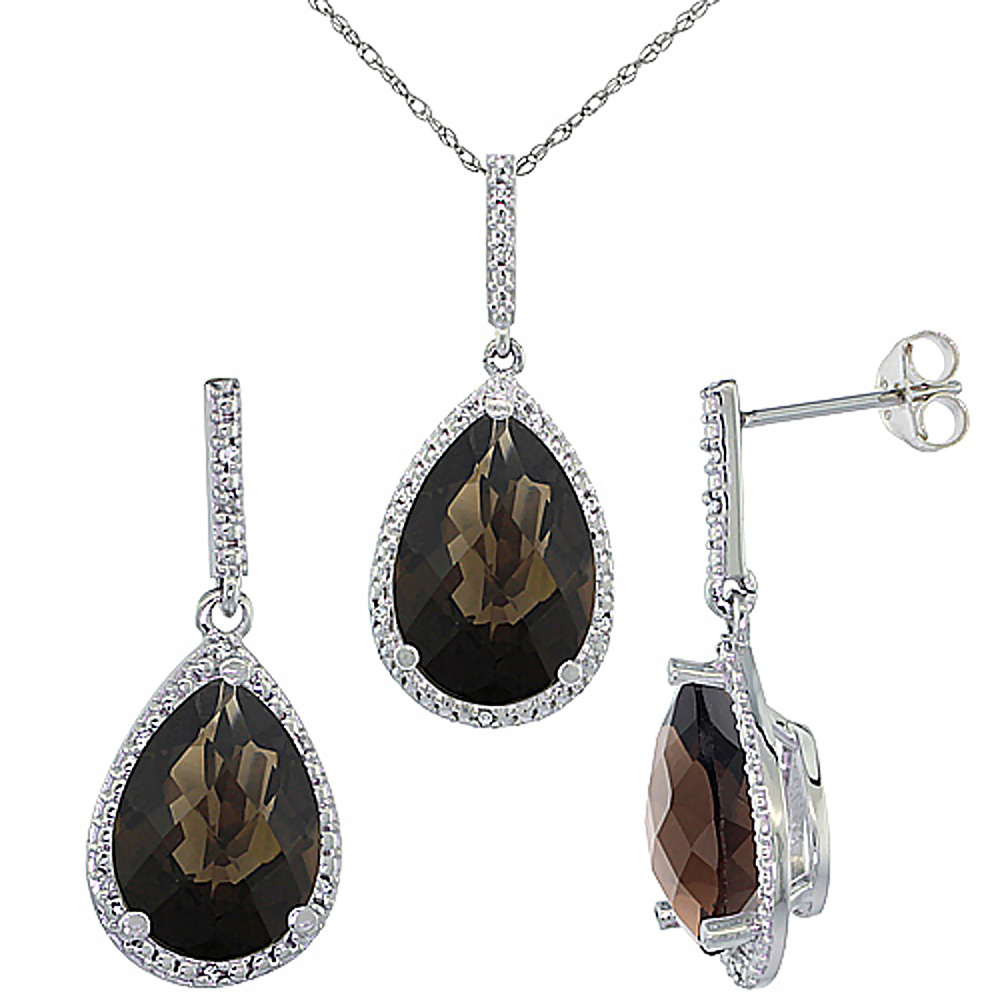 10K White Gold Diamond Natural Smoky Topaz Earrings Necklace Set Pear Shaped 12x8mm & 15x10mm, 18 inch