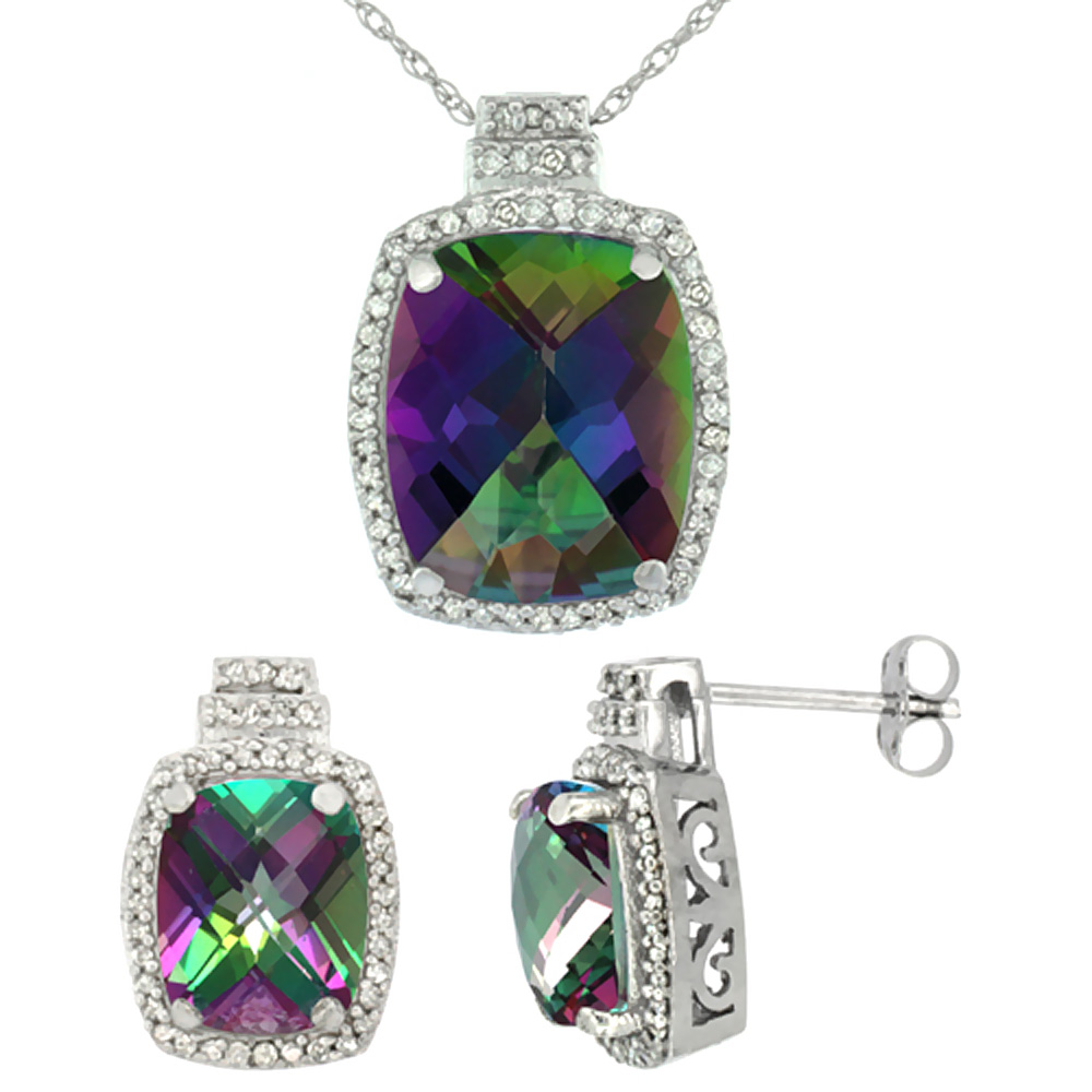 10K White Gold Diamond Natural Mystic Topaz 8x6mm Earrings & 11x9mm Pendant Set Octagon Cushion