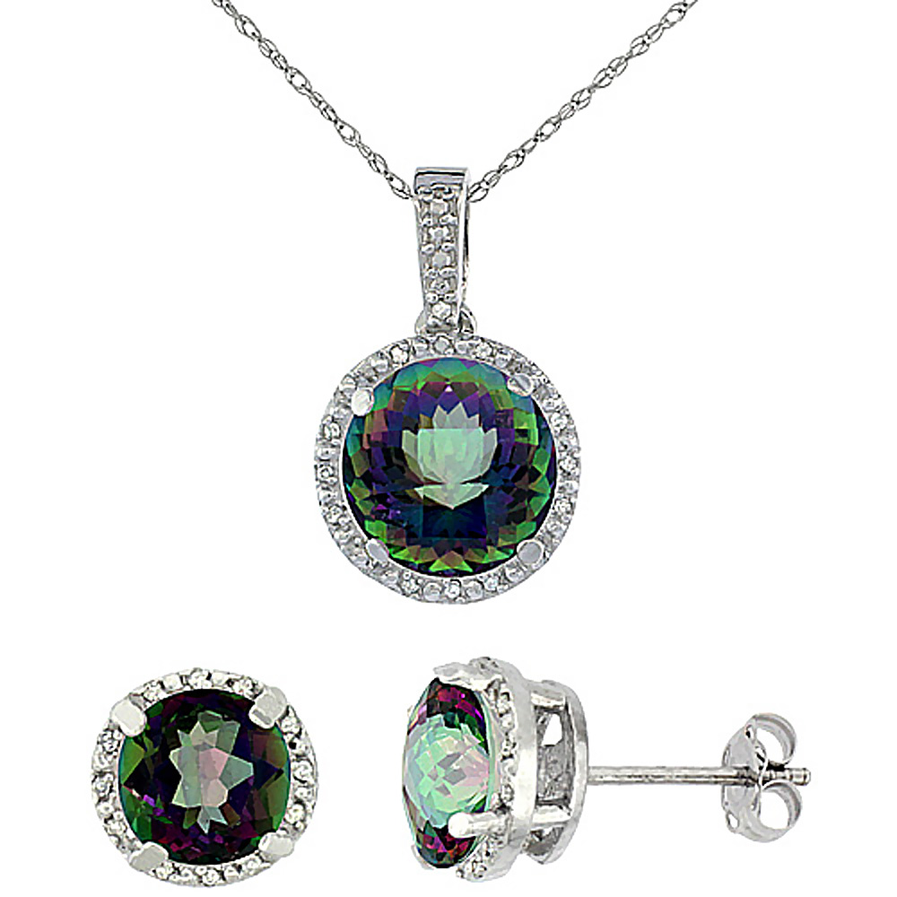 10K White Gold Natural Round Mystic Topaz Earrings & Pendant Set Diamond Accents