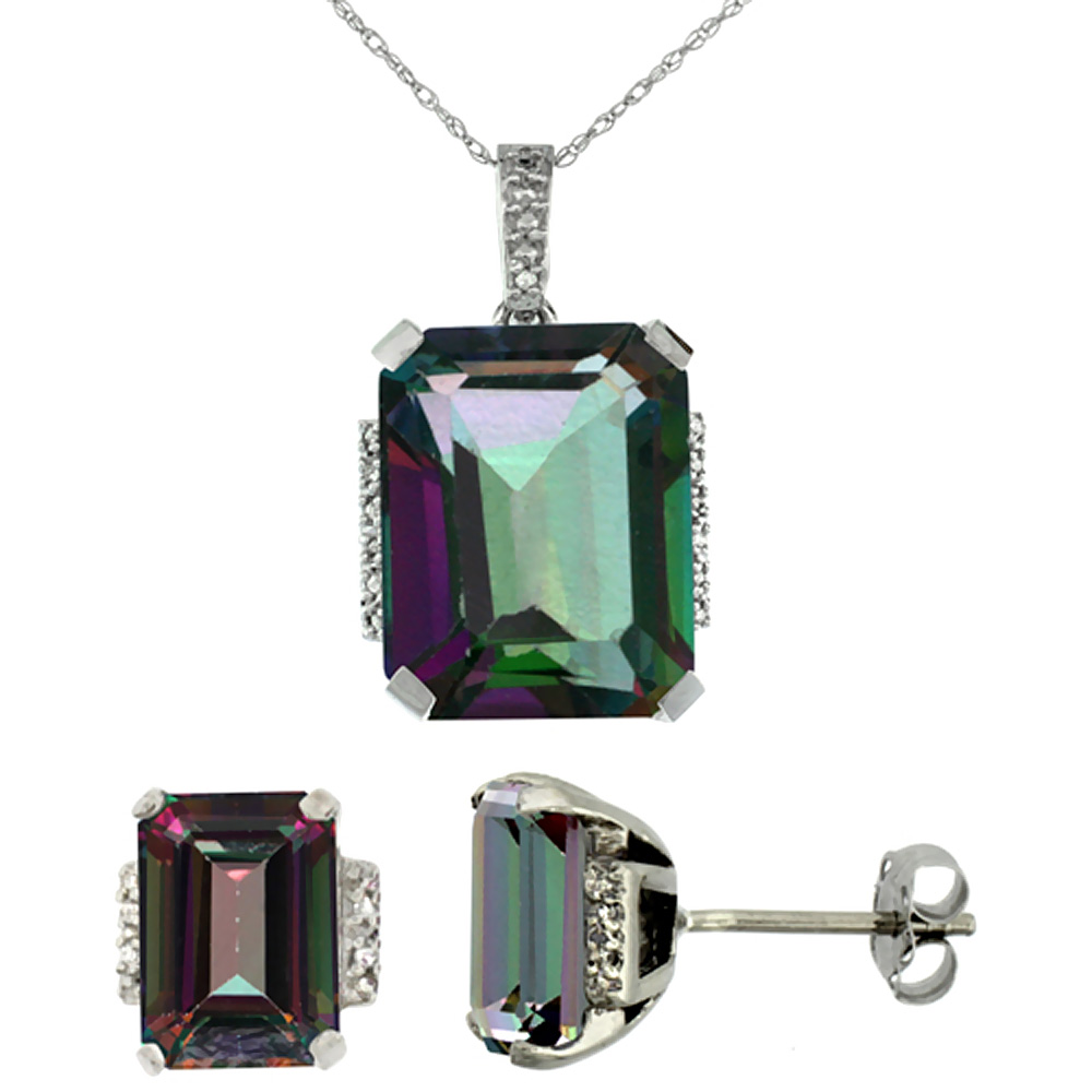 10K White Gold Natural Octagon Mystic Topaz Earrings & Pendant Set Diamond Accents