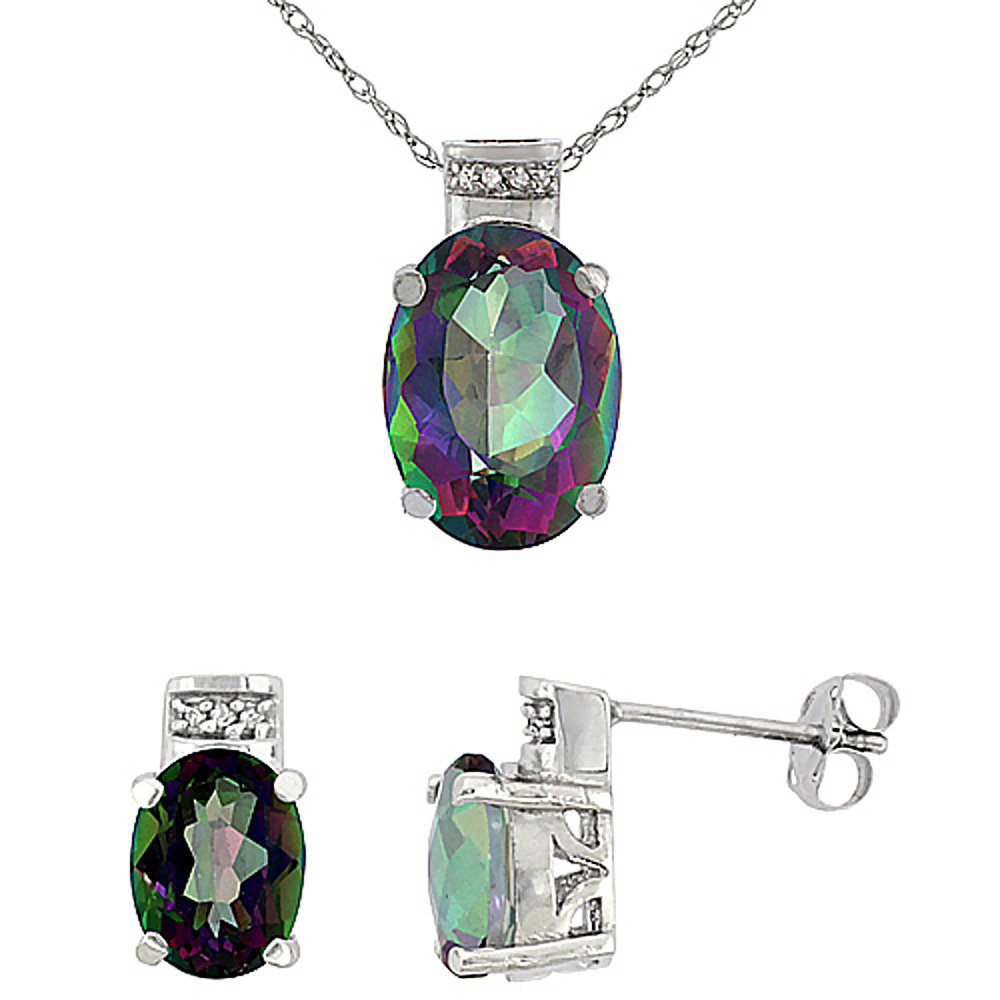 10K White Gold Diamond Natural Oval Mystic Topaz Earrings & Pendant Set