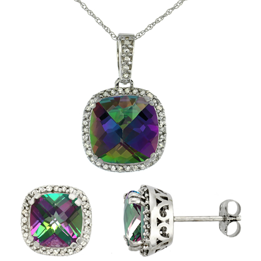 10k White Gold Diamond Halo Natural Mystic Topaz Earring Necklace Set 7x7mm & 10x10mm Cushion, 18 inch