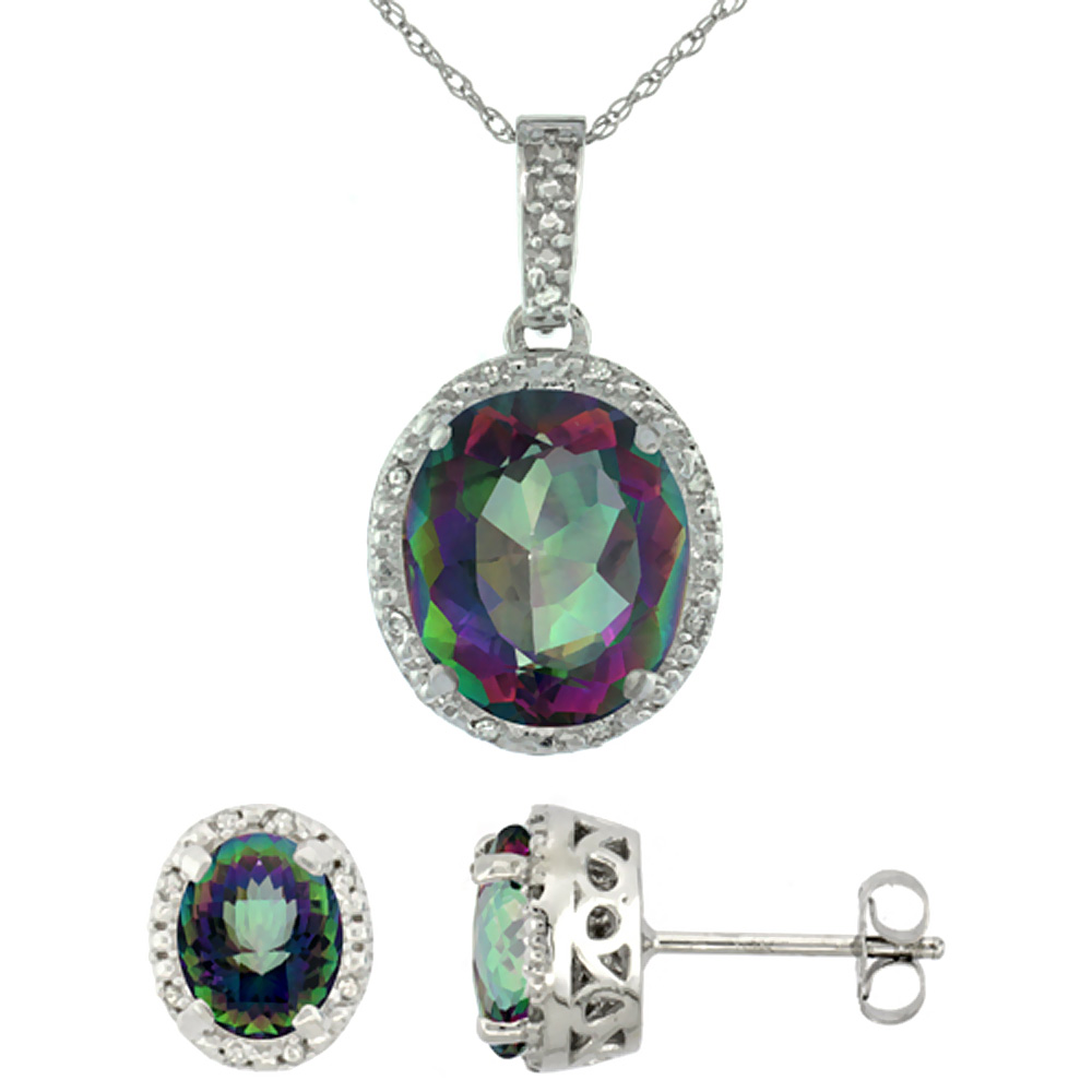 10K White Gold Diamond Halo Natural Mystic Topaz Earrings Necklace Set Oval 7x5mm & 12x10mm, 18 inch