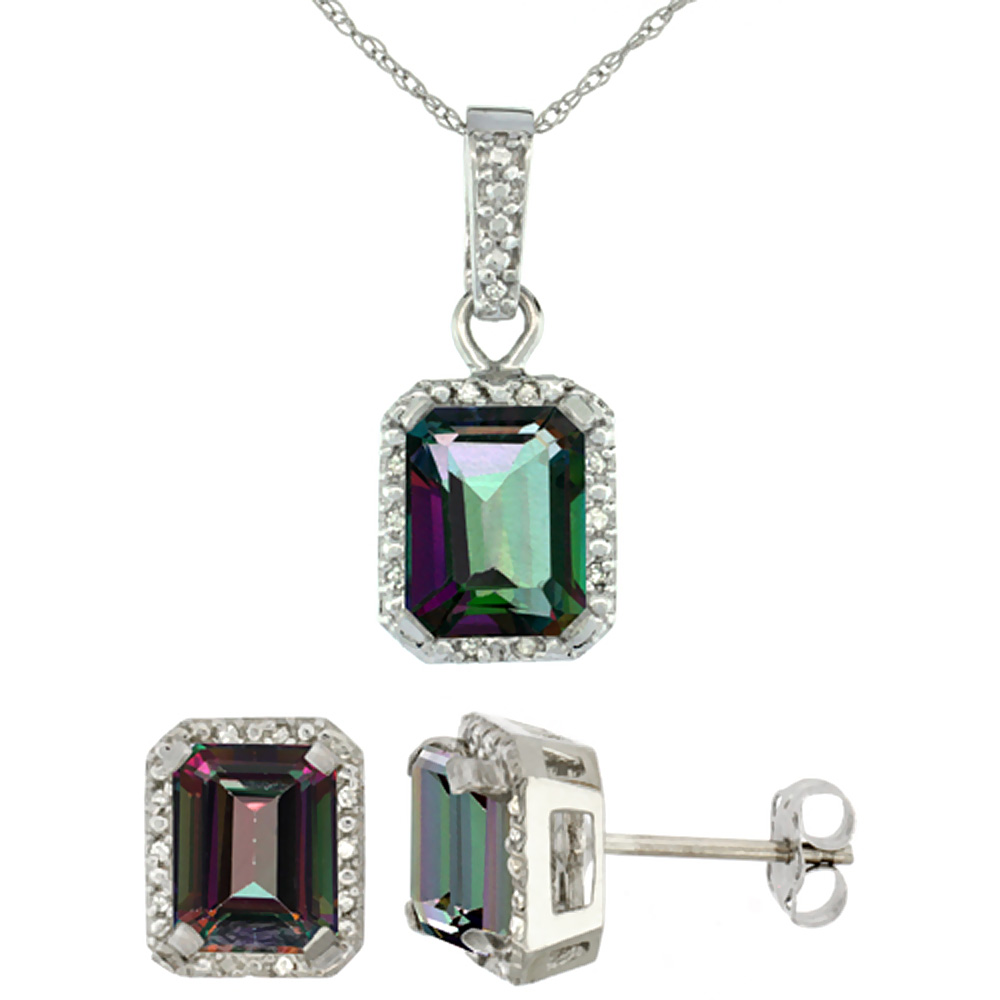 10K White Gold Natural Octagon 8x6 mm Mystic Topaz Earrings & Pendant Set Diamond Accents