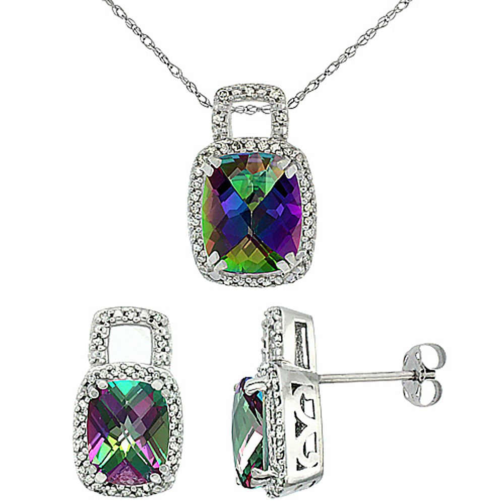 10K White Gold Natural Octagon Cushion Mystic Topaz Earrings & Pendant Set Diamond Accents
